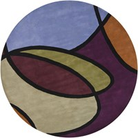 Chandra Bense 3002 Patterned Round Contemporary Area Rug Purple
