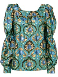 La Doublej Printed Peasant Top Blue