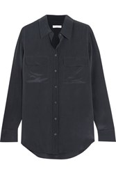 Equipment Slim Signature Washed Silk Shirt Navy