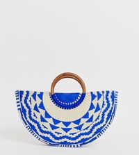 Accessorize Josephina Blue Woven Embroidered Moon Grab Clutch Bag With Wooden Handle Multi