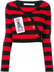 Ashley Williams Striped Bad Mood Wrap Sweater Red