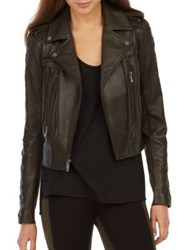 Bcbgmaxazria Isa Lace Up Leather Moto Jacket Hunter Green
