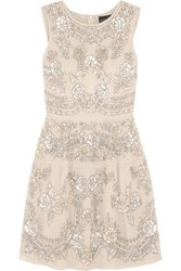 Needle And Thread Etch Lace Embellished Chiffon Mini Dress Beige