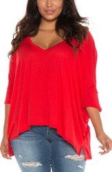 Slink Jeans Plus Size Women's V Neck Tee Red