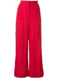 Alysi Wrinkled Effect Trousers Red