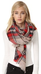 Madewell Scottsdale Plaid Scarf Bright Berry