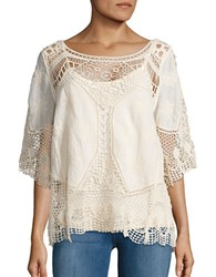 Democracy Embroidered Crochet Top Natural