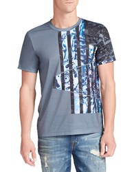 William Rast Abstract Flag Graphic Tee Gray Blue