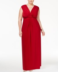 Love Squared Trendy Plus Size Sleeveless Knotted Maxi Dress Garnet
