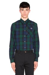 Fred Perry Zip Pocket Black Watch Shirt Navy