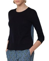 Akris Punto Knit Pullover W Abstract Print Back Navy