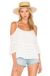 1.State Cold Shoulder Ruffle Sleeve Blouse White