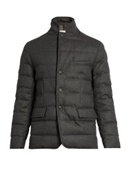 Moncler Rodin Wool Flannel Quilted Down Coat Dark Grey