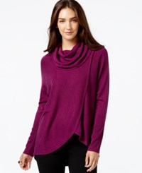 Ny Collection Draped Cowl Neck Sweater Dark Purple