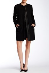 Vince Genuine Leather Quilted Contrast Peacoat Black