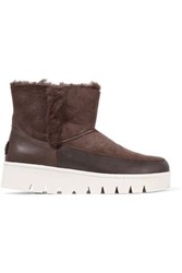 Australia Luxe Collective Icon Leather Paneled Shearling Ankle Boots Dark Brown