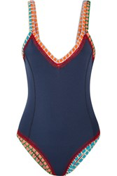 Kiini Tasmin Crochet Trimmed Swimsuit Navy