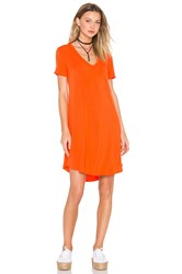 Heather V Neck Pocket Tee Dress Orange