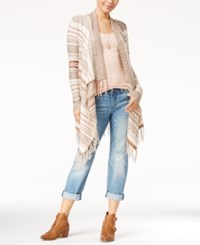 Almost Famous Juniors' Striped Fringe Waterfall Cardigan Sage Pink