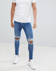 Jaded London Super Skinny Jeans With Rips In Blue
