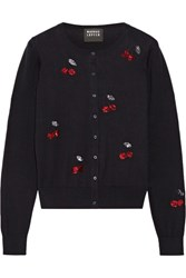 Markus Lupfer Sequin Embellished Cotton Cardigan Midnight Blue