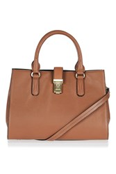 Topshop Holland Leather Lock Holdall Tan