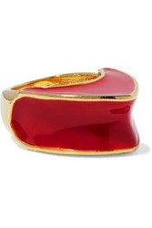 Kenneth Jay Lane Gold Tone Enamel Ring Red