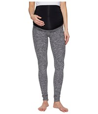 Beyond Yoga Fold Down Maternity Long Leggings Black White Space Dye Women's Workout Gray