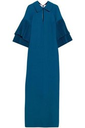 Merchant Archive Pleated Wool Crepe Gown Cobalt Blue