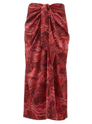 Ganni Snake Print Silk Blend Satin Midi Skirt Red Multi