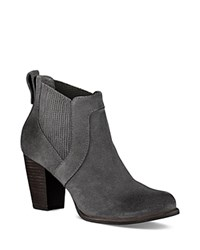 Ugg Cobie Leather Block Heel Booties Nightfall