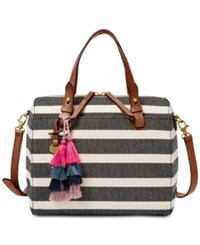 Fossil Stripe Rachel Small Satchel Multi Gold