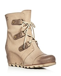Sorel Joan Of Arctic Lace Up Wedge Booties Oxford Tan