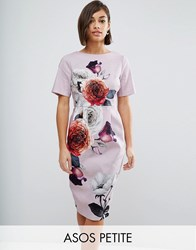 Asos Petite Wiggle Dress In Rose Placement Floral Multi