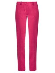 Etro Mid Rise Slim Leg Cotton Blend Trousers Pink