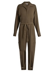 Helmut Lang Patch Pocket Cotton Jumpsuit Khaki
