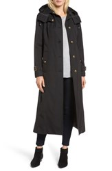 London Fog Women's Hooded Single Breasted Long Trench Coat Black