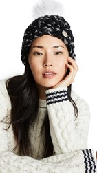 Mischa Lampert Beanie Pomster Hat Black Grey Mix White Arctic