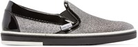 Jimmy Choo Black And Silver Glitter Grove Sneakers