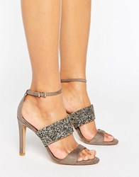 Forever Unique Willow Multi Strap Heeled Sandal Taupe Gold Beige