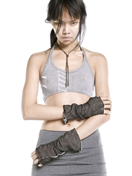 Demobaza Cotton Fingerless Gloves Grey