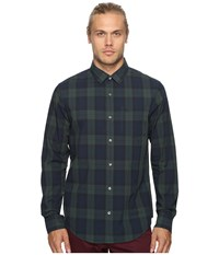 Original Penguin Long Sleeve P55 Blackwatch Plaid Woven Shirt Darkest Spruce Men's Long Sleeve Button Up Green