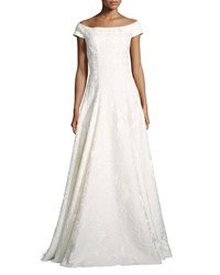 Carmen Marc Valvo Cap Sleeve Floral Brocade Gown Ivory