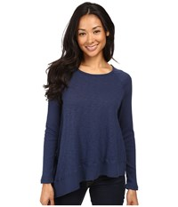 Allen Allen Long Sleeve Raglan Crew Angled Hem Blue Ink Women's Clothing