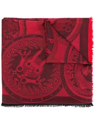 Kenzo 'Monster Tool' Scarf Red