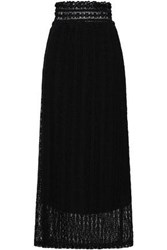 Red Valentino Shirred Lace Maxi Skirt Black