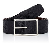 Simonnot Godard Men's Reversible Leather Belt Black Blue Black Blue