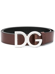 Dolce And Gabbana Logo Buckle Belt Brown