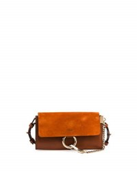 Chloe Faye Suede Leather Wallet On A Strap Tan