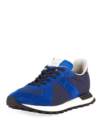 Maison Martin Margiela Replica Nylon And Suede Runner Sneakers Blue